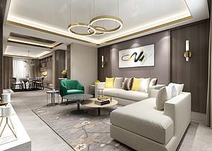 三居室-现代轻奢-客厅-效果图