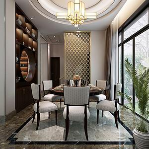 独栋别墅新中式风格餐厅装修效果图