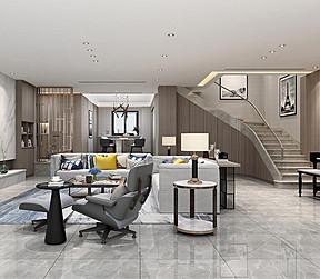 295㎡跃层现代简约风格客厅效果图