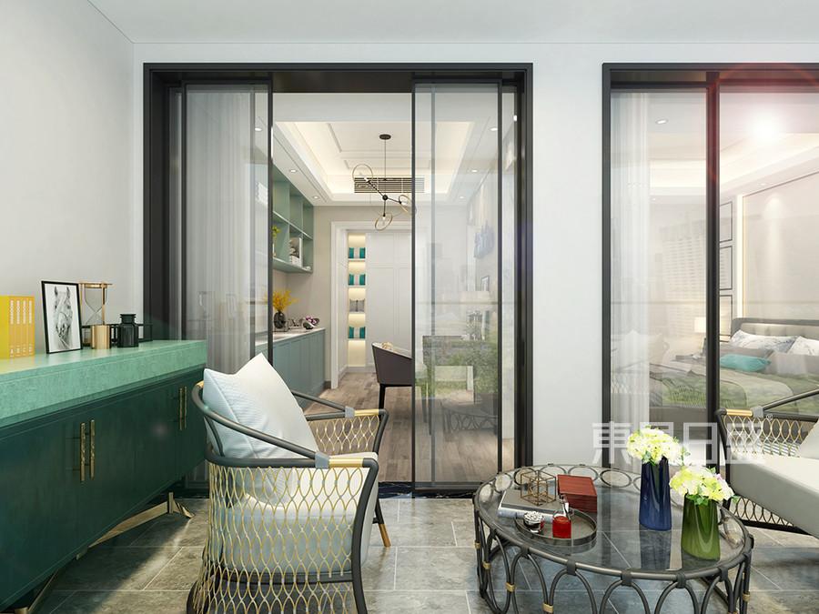 佛山万科水晶城190平米现代简约复式楼卧室阳台装修效果图