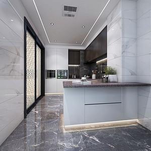 厨房:白色的瓷砖和柜子十分协调,摆脱了沉闷的装修格局,让空间更加开放。