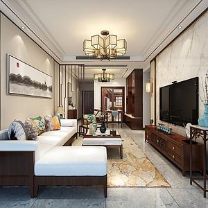 东城鼎峰尚境装修案例-94㎡新中式三房二厅装修效果图