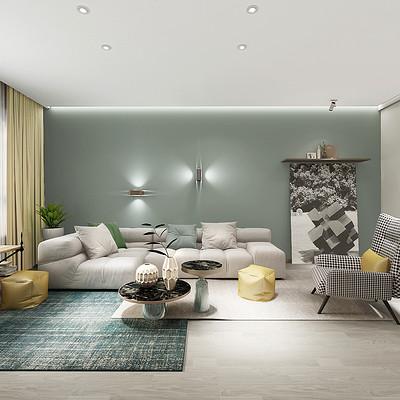 华润悦府三室两厅客厅现代简约装修效果图