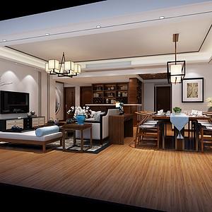 南城万科翡丽山装修效果图-170㎡新中式风格四房二厅装修案例