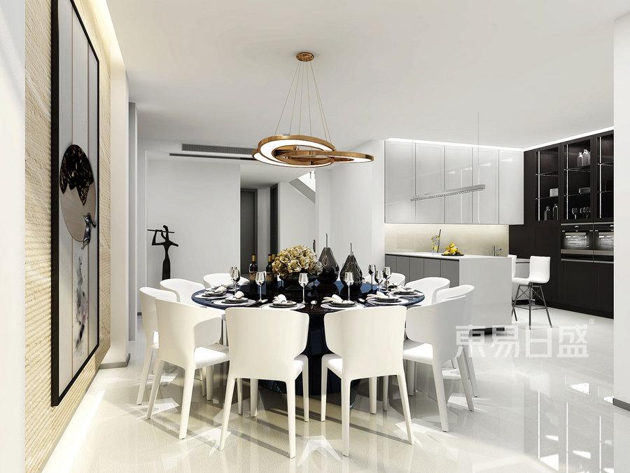 750㎡别墅现代简约风格餐厅效果图
