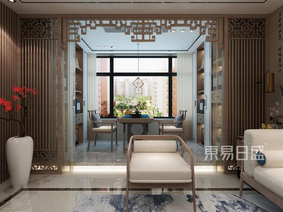 首开国风琅樾三居室新中式客厅阳台装修效果图
