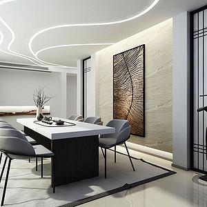 750㎡别墅现代简约风格茶室效果图