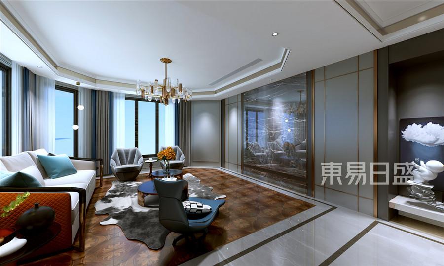 现代轻奢风格复式客厅装修设计效果图