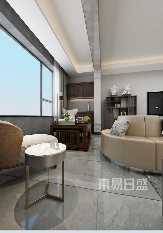 三居室-现代简约-客厅阳台-效果图