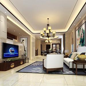 中堂江畔豪庭装修案例-450㎡新中式风格别墅装修效果图
