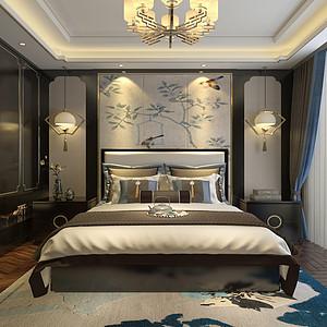 独栋别墅新中式风格卧室装修效果图