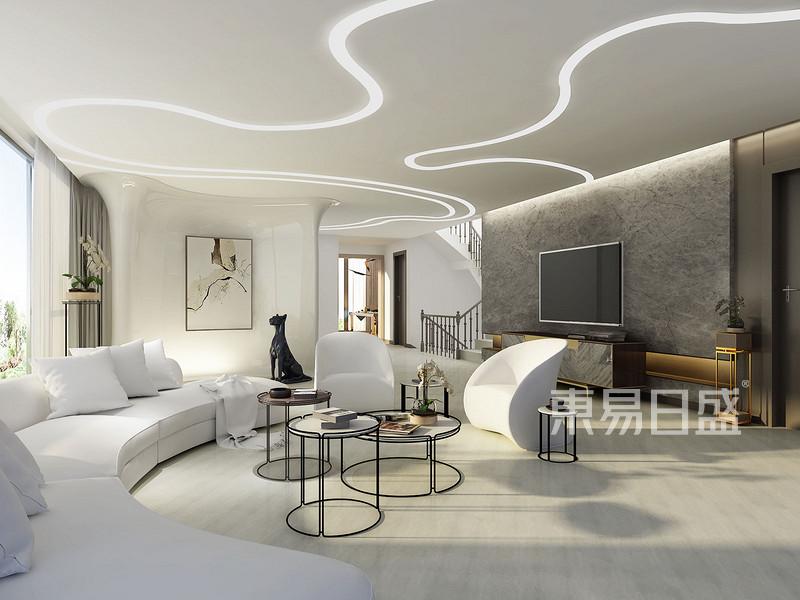750㎡别墅现代简约风格客厅效果图