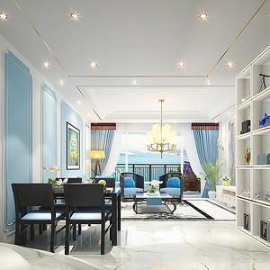 三亚万勃温泉花园现代欧式客厅效果图