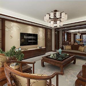 湖城大境8号地 新中式装修效果图 四室两厅 208㎡