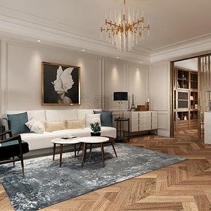蓝堡公寓-200平米-简美风格