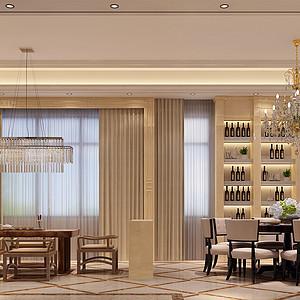 锦绣山河观园别墅欧式餐厅装修效果图