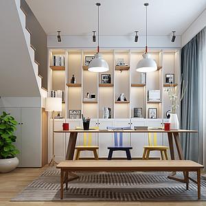 玉湖新城花园北欧150㎡书房装修效果