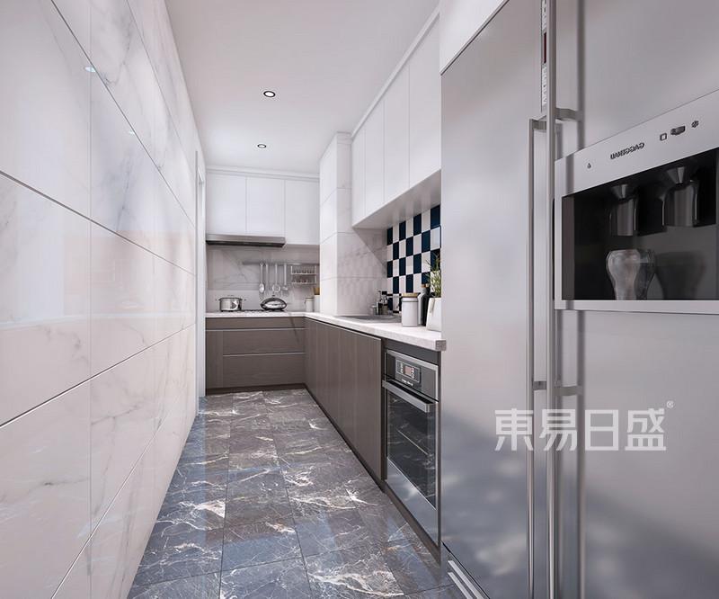 首页 室内装修效果图 > 厨房:白色柜子/木色柜子/灰色瓷砖三者之间