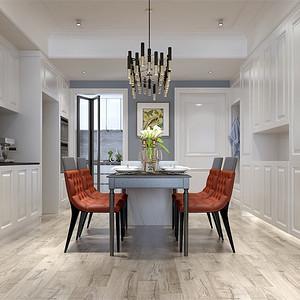 三居室-现代美式-餐厅-效果图