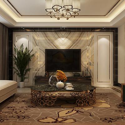 御景华府190平米简欧沙发背景墙装修效果图
