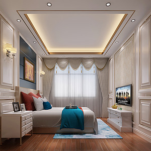 锦绣山河观园别墅欧式卧室装修效果图