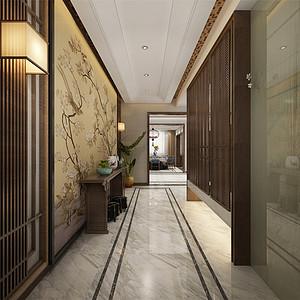 静海裕华园简约中式风格门厅装修效果图
