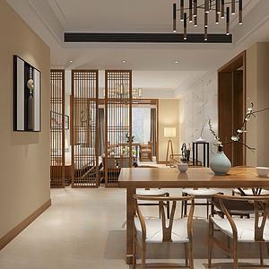 鹭湖宫全景舱122平米三居室新中式风格