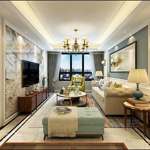 华洲城 美式装修效果图 三室二厅 158㎡