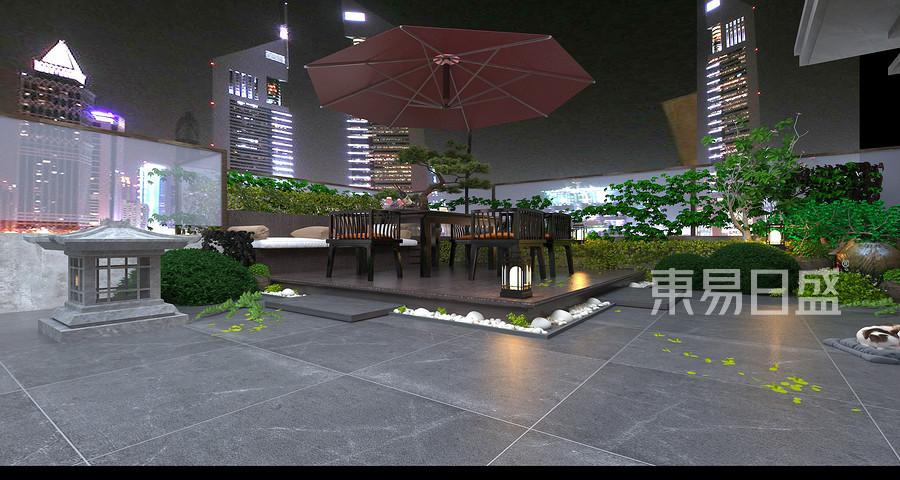 256平壹号院新中式风格阳台装修效果图果图
