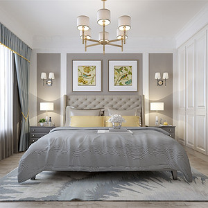 三居室-现代美式-主卧-效果图