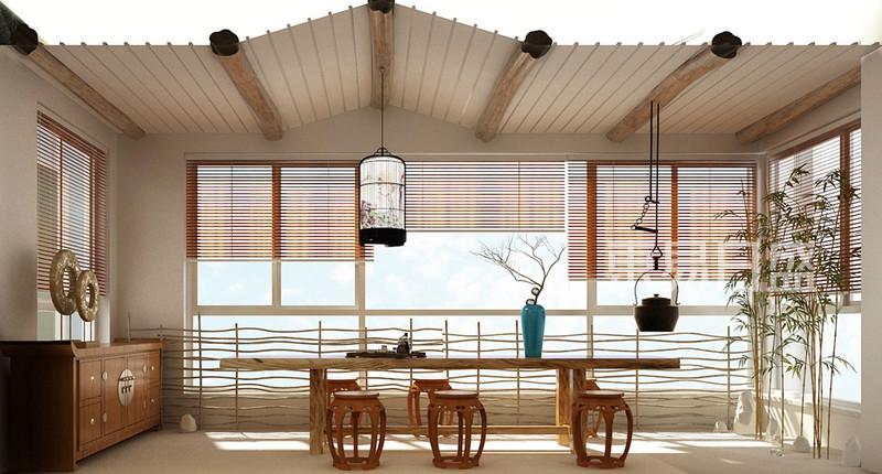保利国际广场新中式风格阳台茶室全景效果图_装修效果