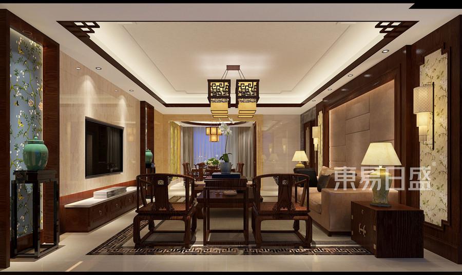 深圳客廳裝修實景圖 新中式風格裝修效果圖_2019裝修