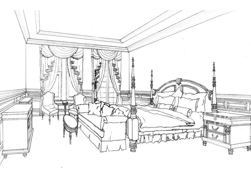 新中式 - 上海别墅花园新中式风格卧室案例手绘图
