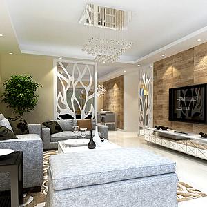 东川 金水花园 现代简约风格装修效果图 三居室 121㎡