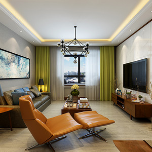 汉邦集团家属院 新中式装修效果图 三室二厅 125㎡