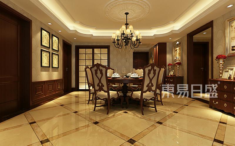 餐厅:餐厅区域摆放圆桌,餐厅与客厅空效果图_装修效果