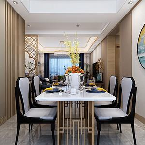 三居室-新中式-餐厅-效果图