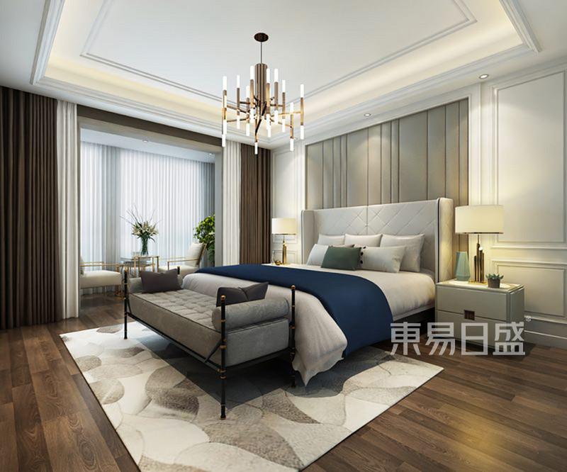 卧室床头背景墙软包搭配浅色护墙板效果图 装修效果图大全2018图片