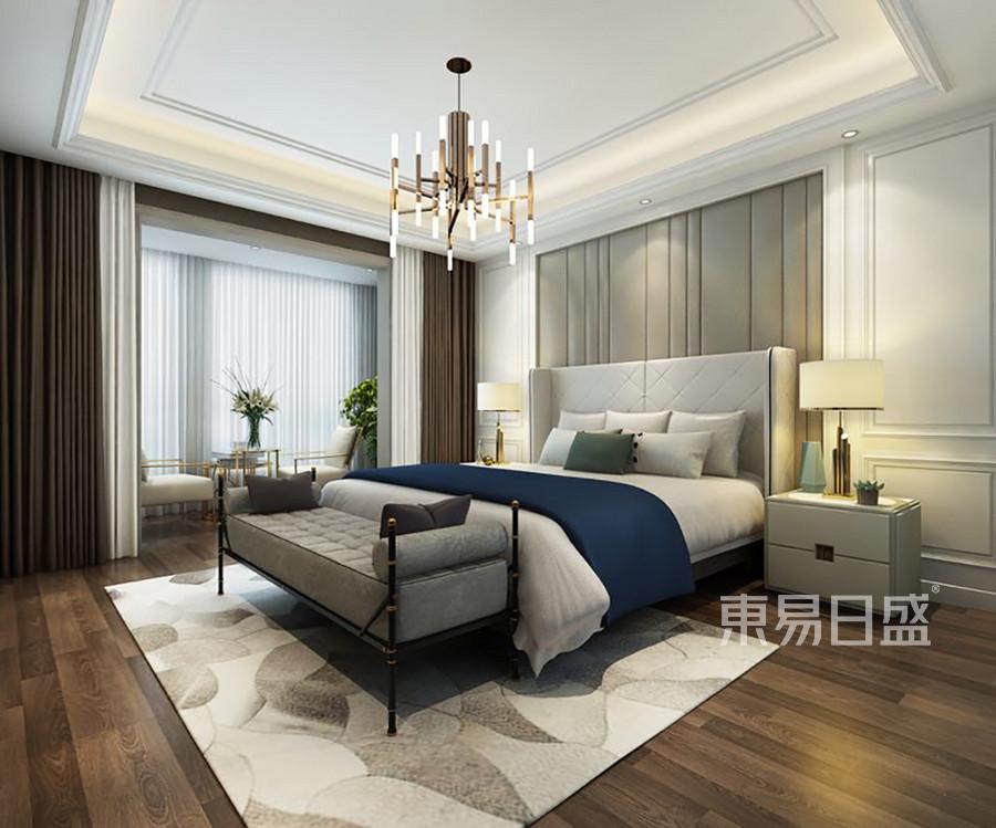 卧室床头背景墙软包搭配浅色护墙板效果图_2018装修