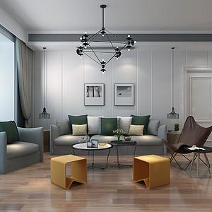 保利拉菲200㎡四室二厅现代简约风格装修案例