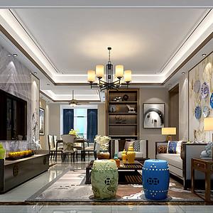 石碣中熙君墅湾装修案例 136㎡新中式四房二厅装修效果图