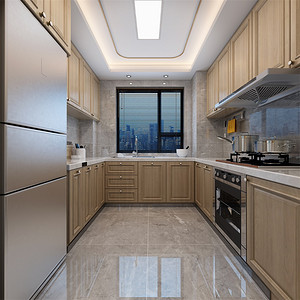 三居室-新中式-厨房-效果图