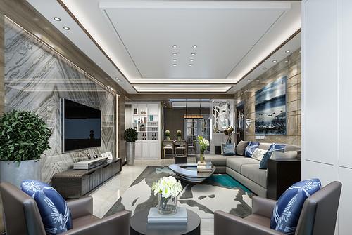 118㎡三居室现代装修效果图