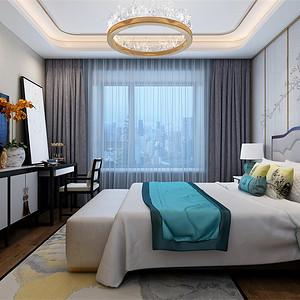 三居室-新中式-主卧-效果图