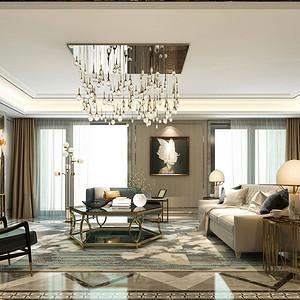 现代轻奢风格客厅效果图