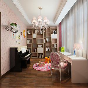 俊城御墅简欧风格二层书房装修效果图