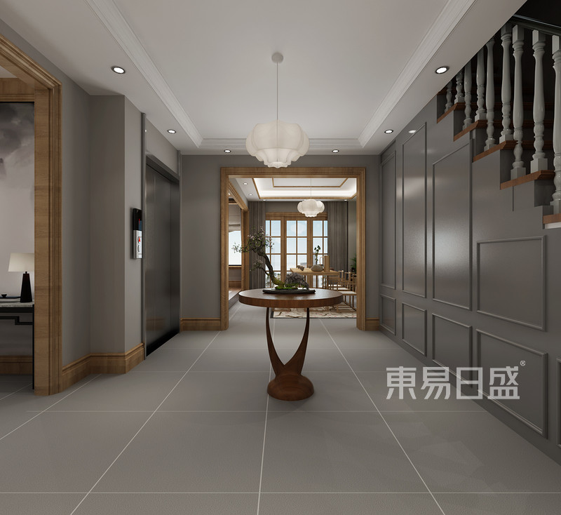 原木色家具搭配高级灰墙面效果图_装修效果图大全2018