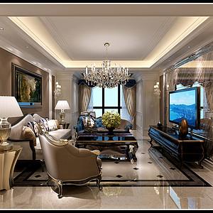 国熙台 新古典装修效果图 三室二厅一厨二卫 125平米