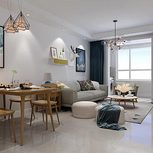 保定未来花郡85平两室二厅北欧风格装修案例
