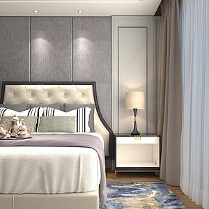 杭州公馆新亚洲主义风格卧室效果图